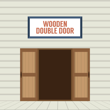 front gate: Flat Design Open Wooden Double Door Vector Illustration