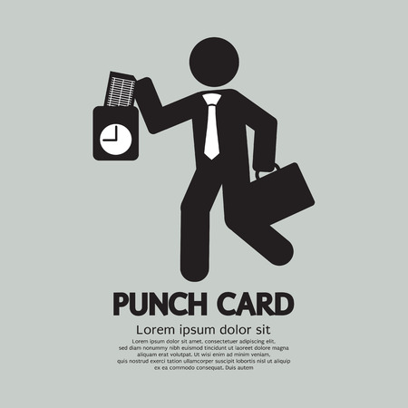 out time: Businessman Using Punch Card For Time Check Vector Illustration
