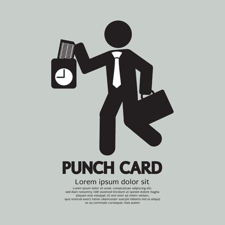 reloj: Hombre de negocios usando la tarjeta de sacador Por Hora Ilustraci�n Vector check