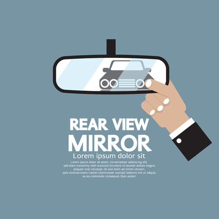 Car Reflection In Rear View Mirror Vector Illustration
