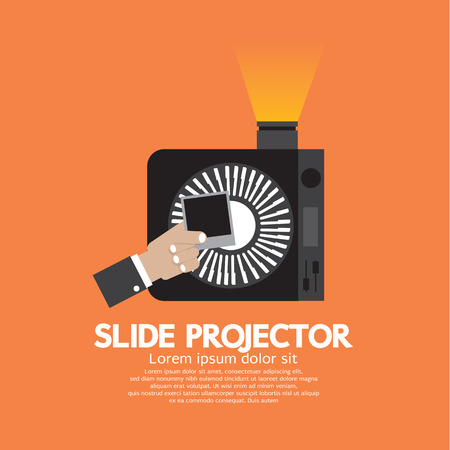 slide show: Slide Projector An Opto-Mechanical Device To Show Photographic Slides Vector Illustration