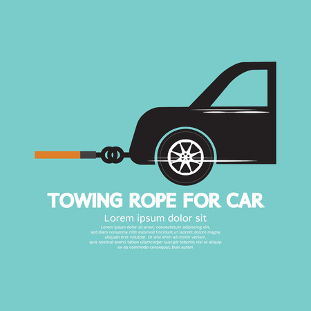 road accident: Towing Rope For Car Graphic Vector Illustration