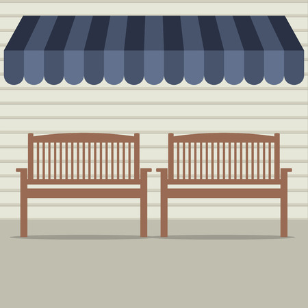 front porch: Empty Wooden Chairs Under Awning Vector Illustration