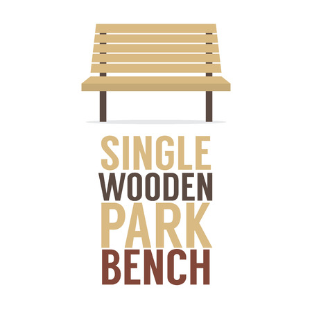garden chair: Single Wooden Park Bench On White Background Vector Illustration