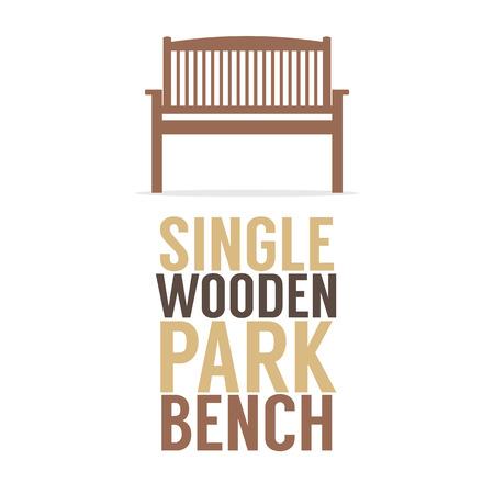 banco parque: Individual Banco de madera Parque En El Fondo Blanco Ilustraciones Vectoriales