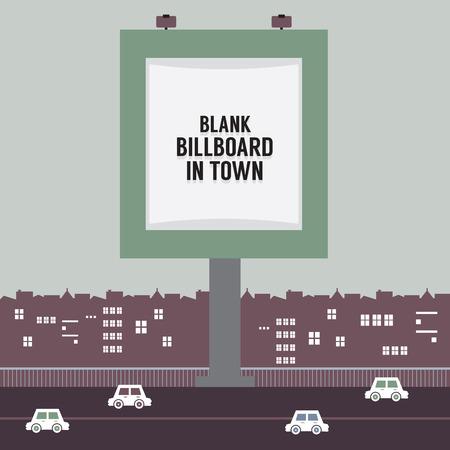 car bills: Big Blank Advertising Billboard In Town Vector Illustration Illustration