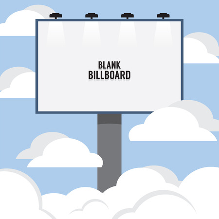 bill board: Big Blank Advertising Billboard Through The Cloud Vector Illustration