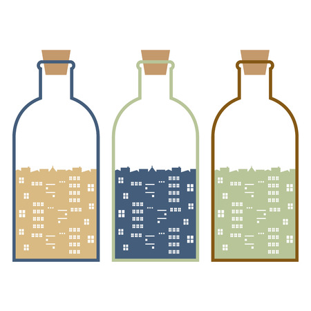 stopper: Set Of Buildings In Glasses Bottles Vector Illustration Illustration