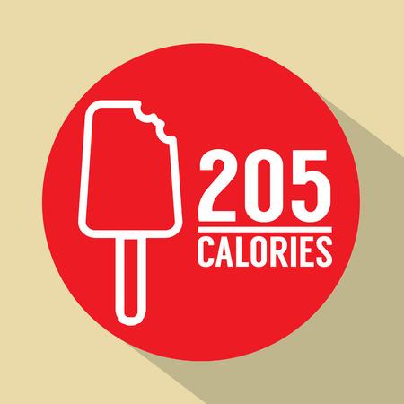 calories: Ice Cream Stick 205 Calories Symbol Vector Illustration