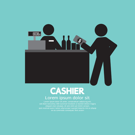 supermarket cash: Cashier With Customer Graphic Symbol Vector Illustration