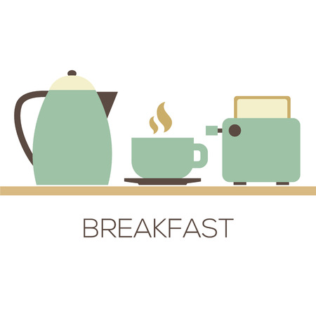 breakfast: Hot Coffee With Kettle And Toaster For Breakfast Vector Illustration