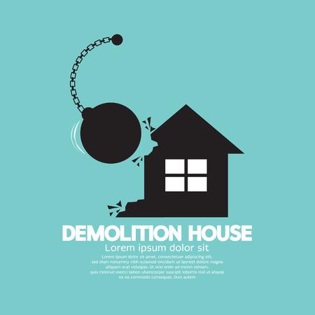 broken house: Demolition House By A Big Pendulum Vector Illustration