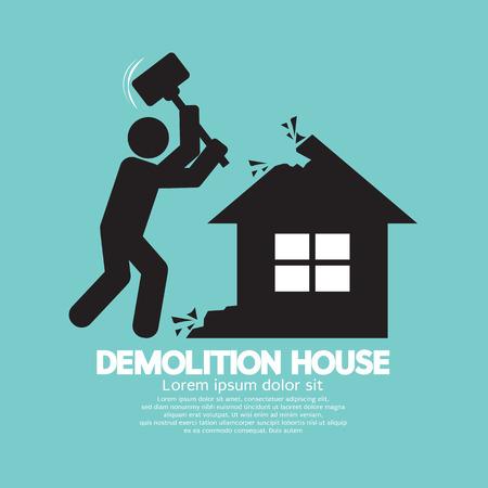 smashing: Demolition Worker Smashing House With Hammer Vector Illustration