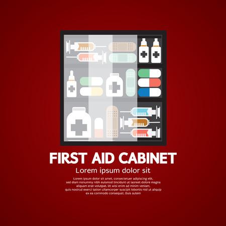 botiquin de primeros auxilios: En primer Gabinete de ayudas deberá Medicina Para uso en el hogar Ilustración vectorial
