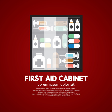 first aid sign: First Aid Cabinet Must Have Medicine For Home Use Vector Illustration