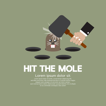 beat the competition: Hit The Mole Fun Game Vector Illustration Illustration