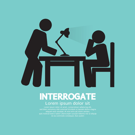 interrogating: Police Interrogate Black Graphic Symbol Vector Illustration