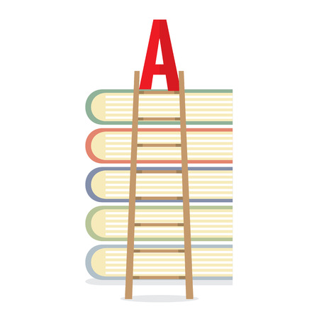 lean: Ladder Lean On Books Toward A-Level Education Concept Vector Illustration
