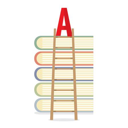 Ladder Lean On Books Toward A-Level Education Concept Vector Illustration