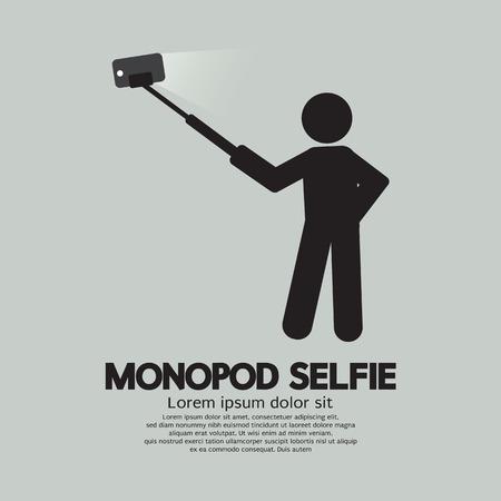 selfie: Monopod Selfie Self Portrait Tool For Smartphone Vector Illustration Illustration