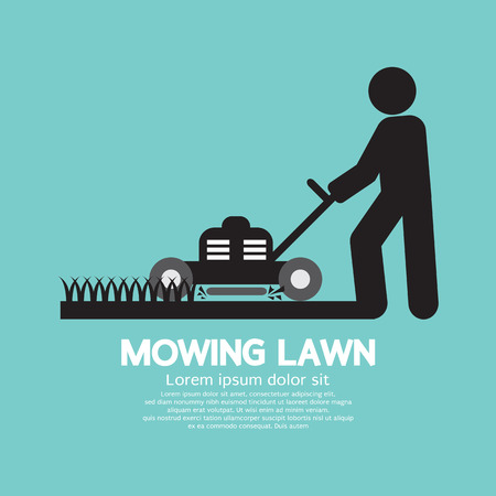 push mower: Graphic Symbol Of A Man Moving Lawn Vector Illustration