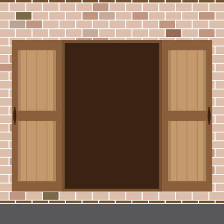 double entry: Flat Design Open Wooden Double Door Vector Illustration