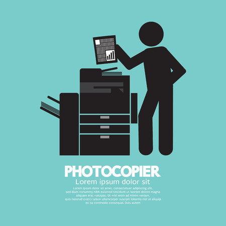 copier: Grafisch symbool van een man met een fotokopieerapparaat Vector Illustratie