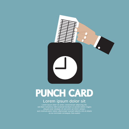 shift: Worker Using Punch Card For Time Check Vector Illustration Illustration