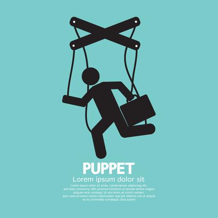 Black Graphic Single Puppet Doll Vector Illustration