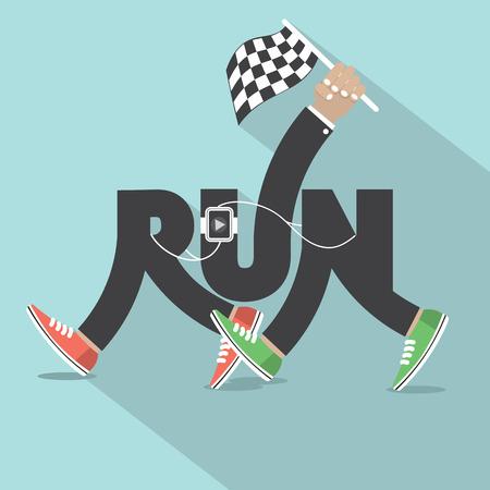 Run With Legs Typography Design Vector Illustration Vector