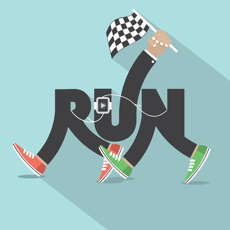 leg: Run With Legs Typography Design Vector Illustration Illustration