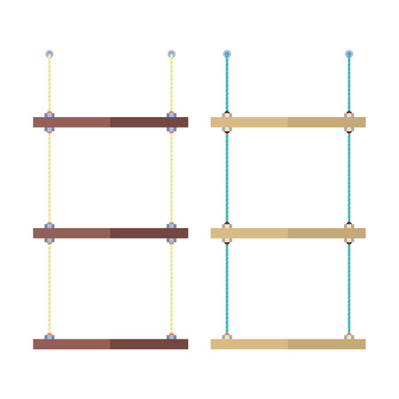 rope vector: Set Of Empty Shelves Rope Vector Illustration