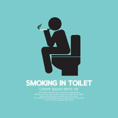 cigarette smoke: Smoking in Toilet Graphic Symbol Vector Illustration