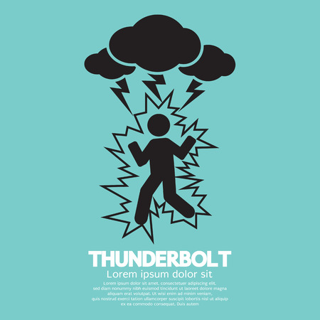 shock: Thunderbolt On A Man Symbol Vector Illustration