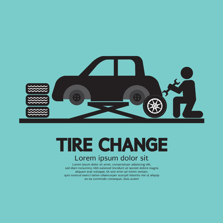 tire shop: Person Changing Automobil Wheel Tire Graphic Symbol Vector Illustration Illustration