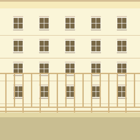 balcony view: Balcony With Building View Background Vector Illustration Illustration