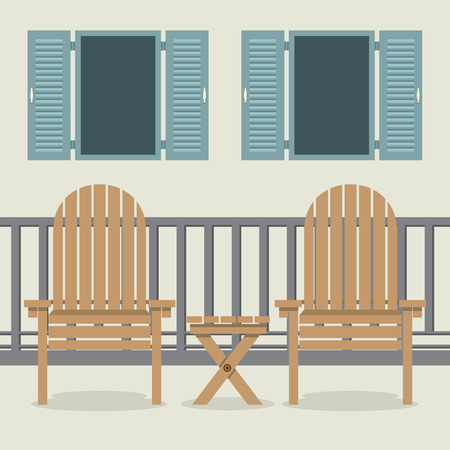 patio deck: House Patio With Garden Chairs And Open Windows Vector Illustration
