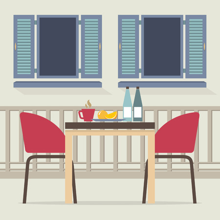 patio chair: Empty Dinner Interior At Balcony Vector Illustration