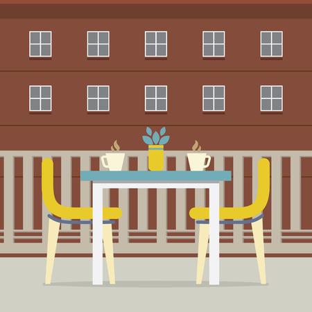porch chair: Empty Dinner Interior At Balcony Vector Illustration
