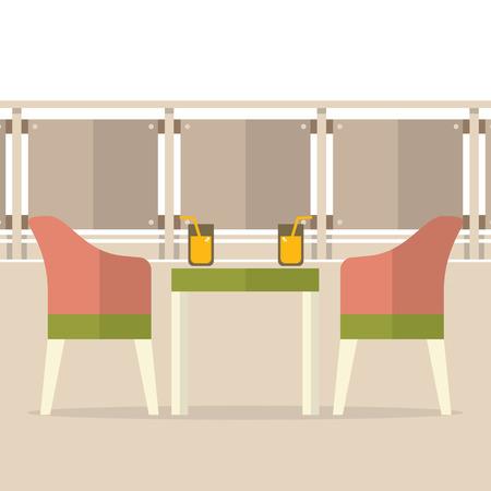 outdoor furniture: Empty Dinner Interior At Balcony Vector Illustration