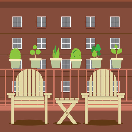 patio chair: Empty Garden Chairs At Balcony Vector Illustration