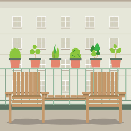 balcony view: Empty Garden Chairs At Balcony Vector Illustration