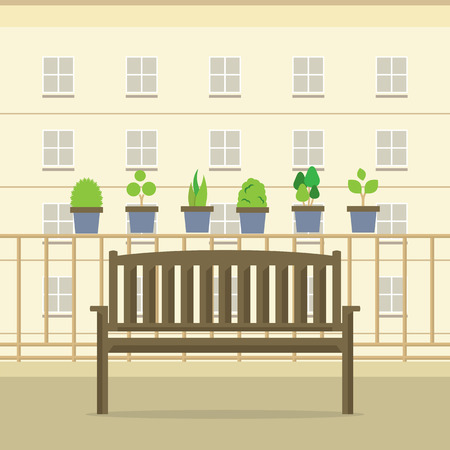 outdoor chair: Empty Wooden Park Chair At Balcony Vector Illustration