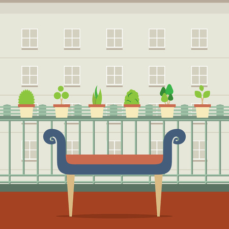 plant pot: Empty Bench At Balcony With Pot Plant Vector Illustration