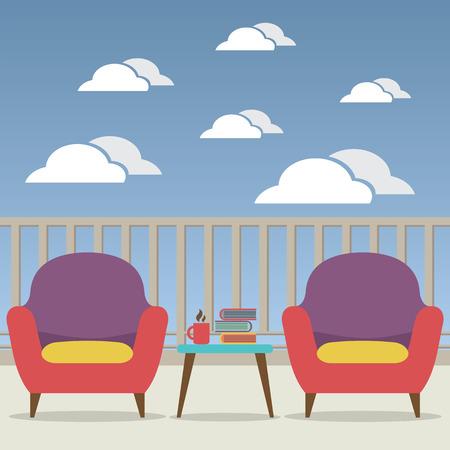 balcony view: Empty Sofa Interior Set At Balcony Vector Illustration Illustration
