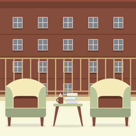 balcony view: Sofa With Books And Coffee At Balcony Vector Illustration Illustration