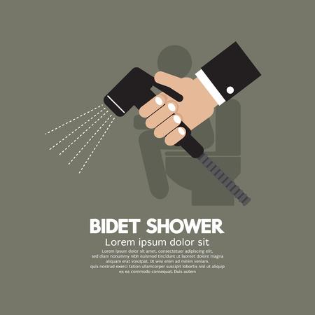 bidet: Hand Using A Bidet Shower Vector Illustration Illustration