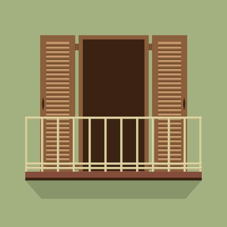 balcony view: Open Door With Balcony Vintage Style Vector Illustration