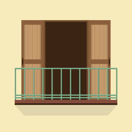 balcony view: Open Doors With Balcony Vintage Style Vector Illustration