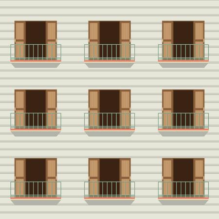 open doors: Open Doors With Balcony Vintage Style Vector Illustration